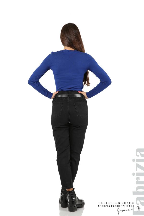Черни дънки с висока талия и колан-черен-6