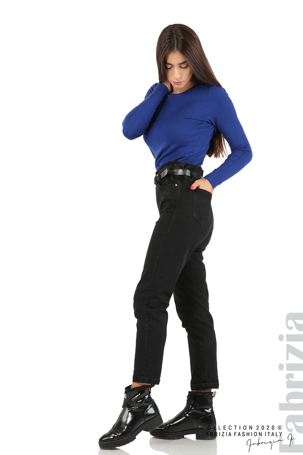 Черни дънки с висока талия и колан-черен-5