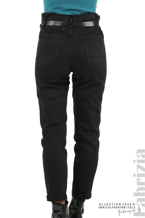 Черни дънки с висока талия и колан-черен-7