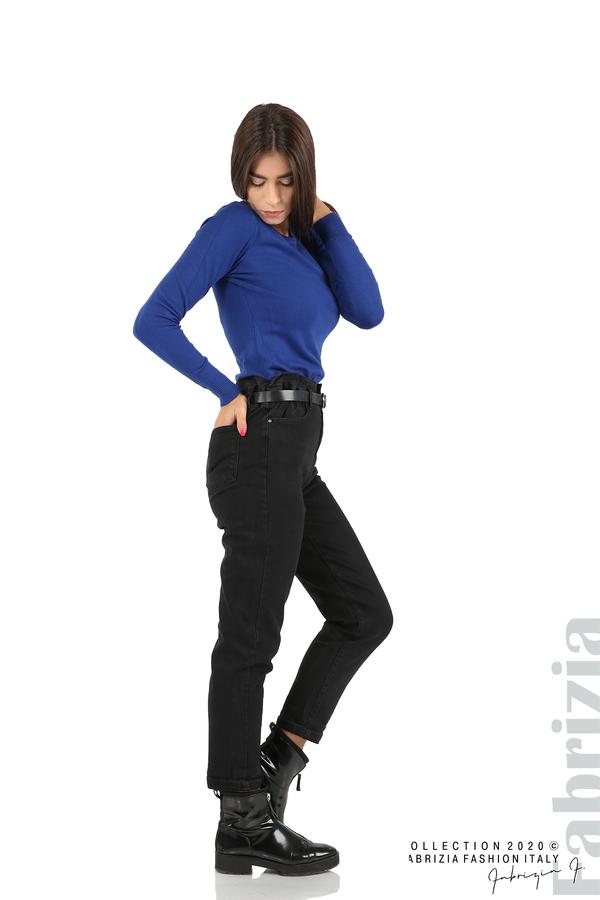 Черни дънки с висока талия и колан-черен-4