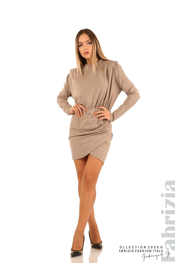 Къса трикотажна рокля-мляко с какао-3