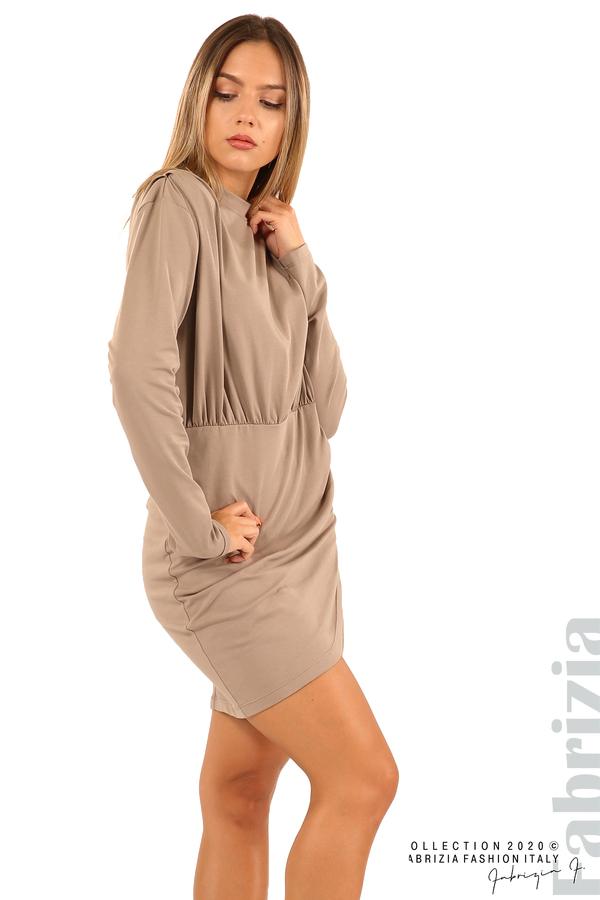 Къса трикотажна рокля-мляко с какао-2