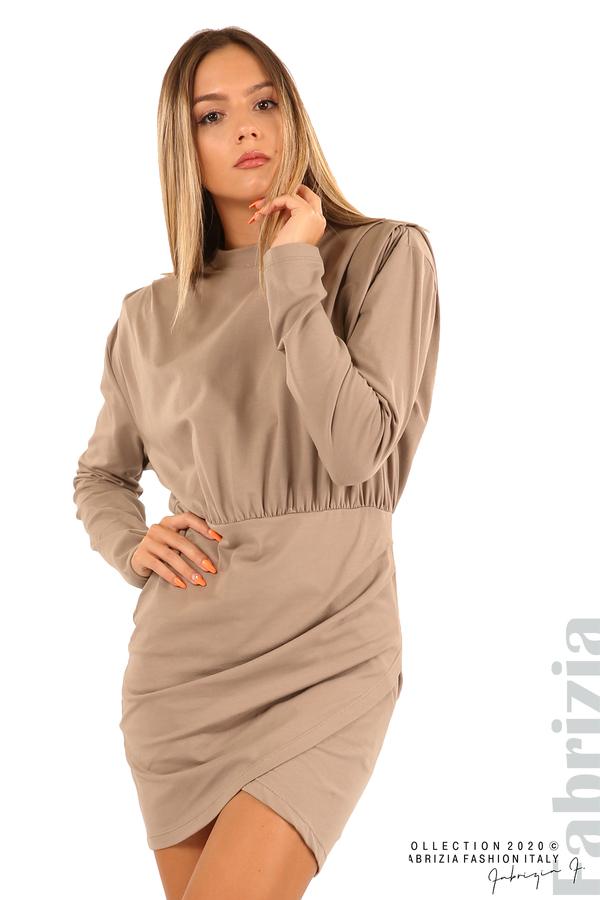 Къса трикотажна рокля-мляко с какао-4