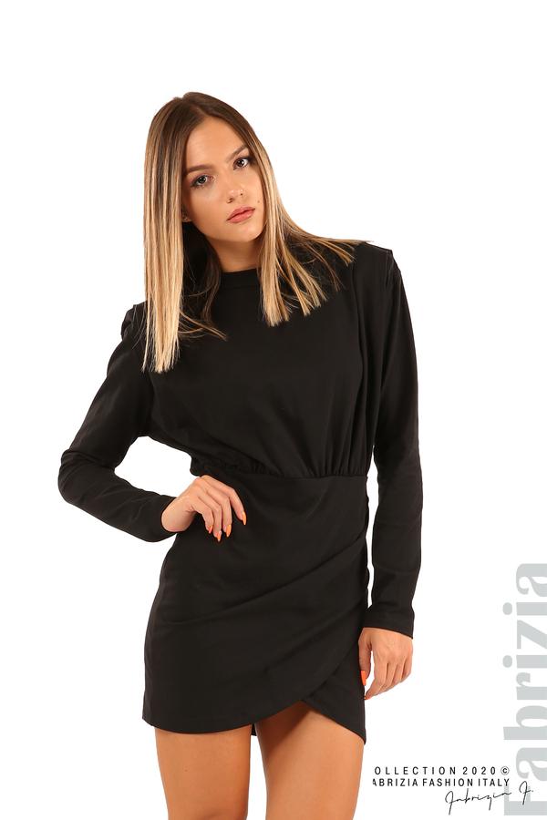 Къса трикотажна рокля-черен-1