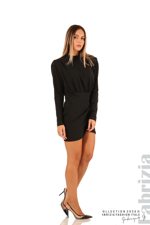 Къса трикотажна рокля-черен-3