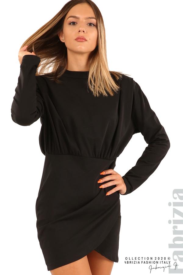 Къса трикотажна рокля-черен-2