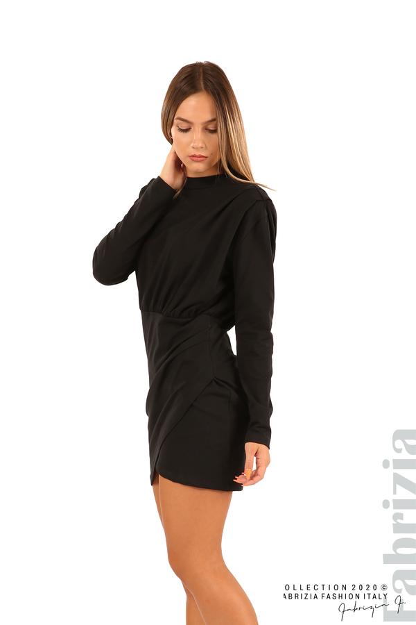 Къса трикотажна рокля-черен-4