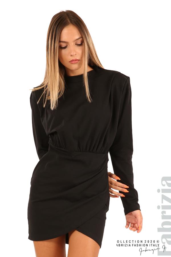 Къса трикотажна рокля-черен-5