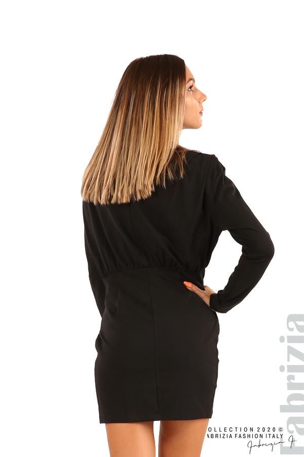 Къса трикотажна рокля-черен-6