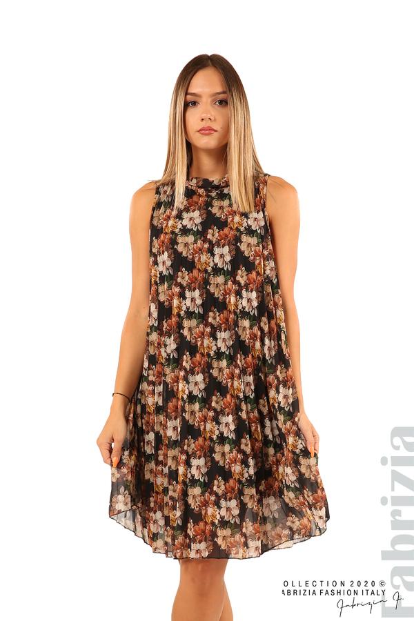 Къса ефирна рокля на цветя-черен-1