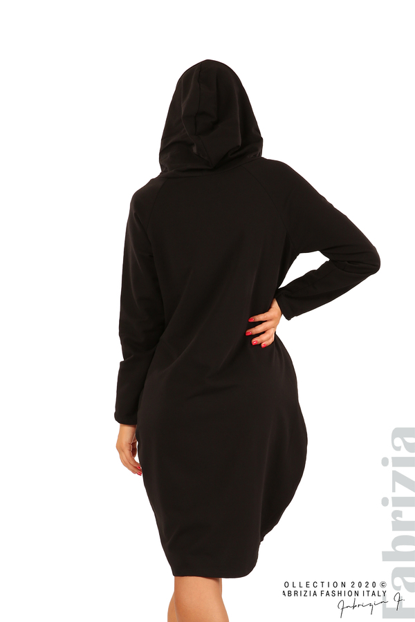 Свободна рокля с качулка-черен-6