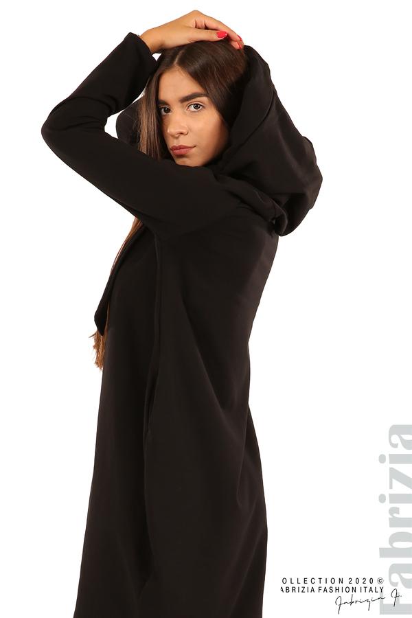 Свободна рокля с качулка-черен-3