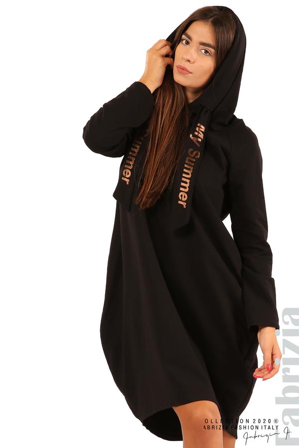 Свободна рокля с качулка-черен-4