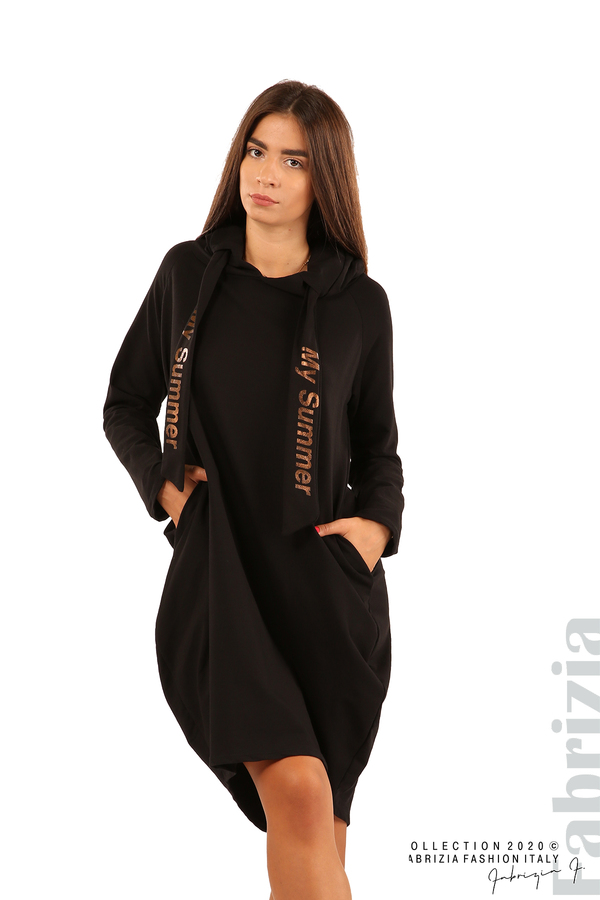 Свободна рокля с качулка-черен-1