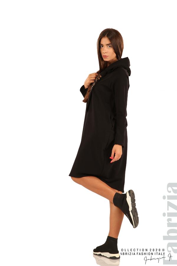 Свободна рокля с качулка-черен-5