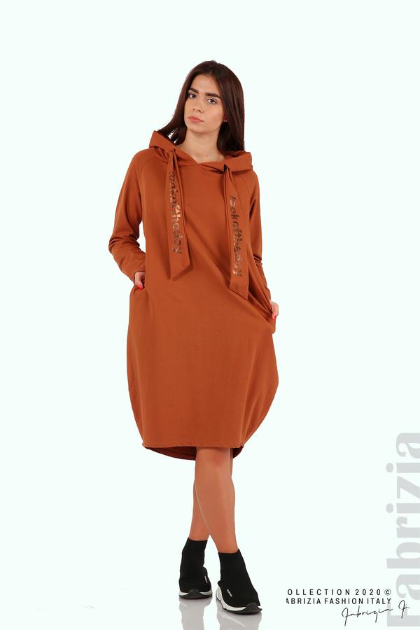 Свободна рокля с качулка-кафяв-2