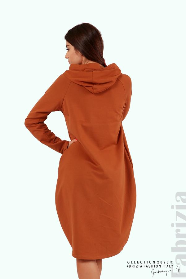Свободна рокля с качулка-кафяв-5