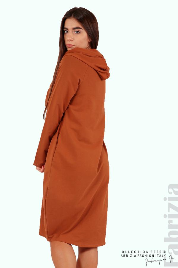 Свободна рокля с качулка-кафяв-4