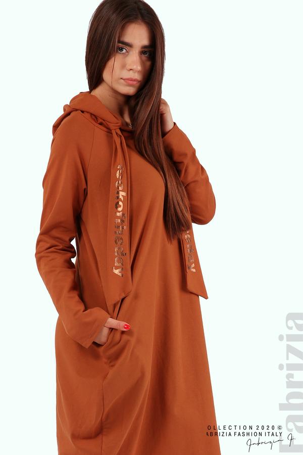 Свободна рокля с качулка-кафяв-3