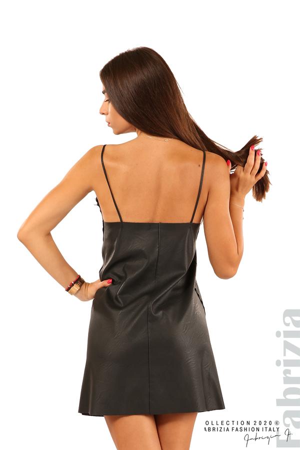 Кожена рокля с тънки презрамки-черен-5