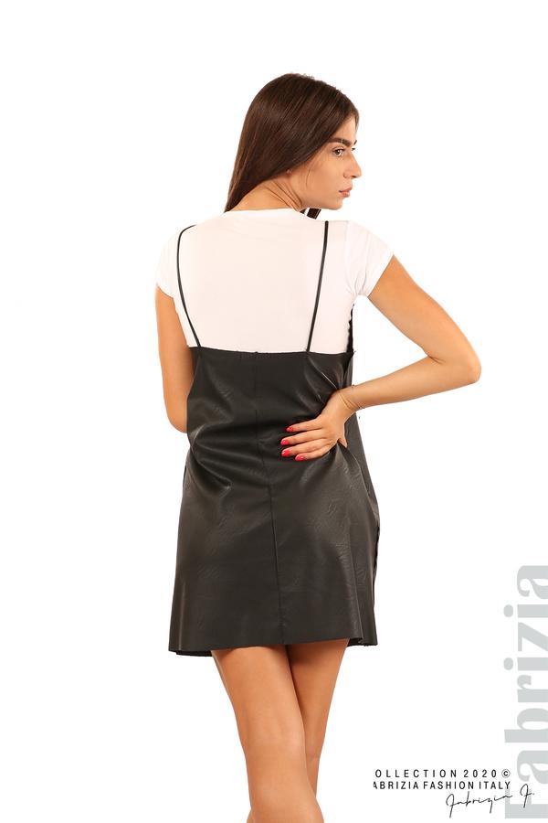 Кожена рокля с тънки презрамки-черен-8