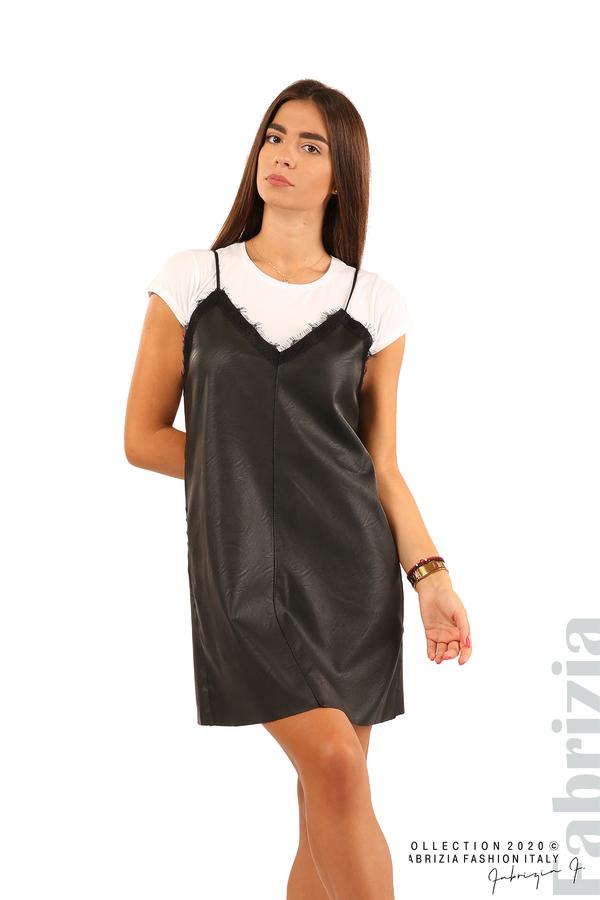 Кожена рокля с тънки презрамки-черен-7