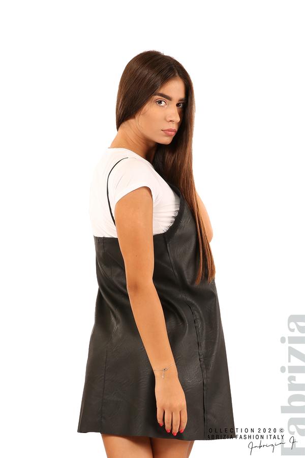 Кожена рокля с тънки презрамки-черен-9