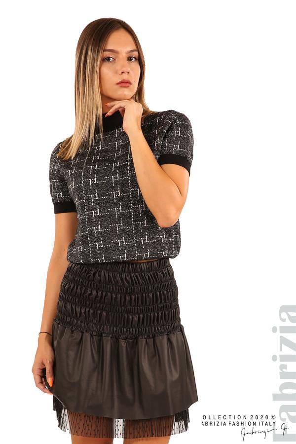 Къса ластична пола с нежна дантела-черен-3