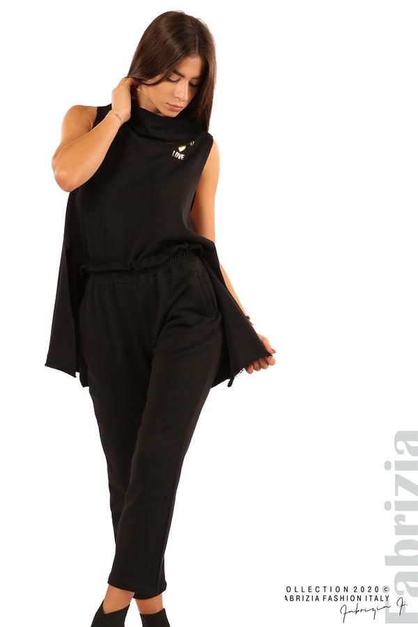 Трикотажен панталон с висока талия-черен-4