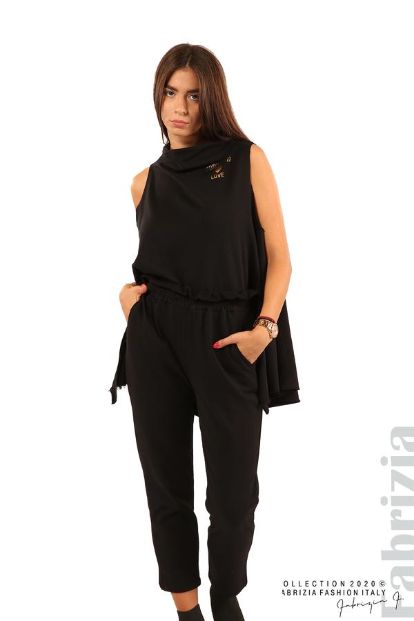 Трикотажен панталон с висока талия-черен-3