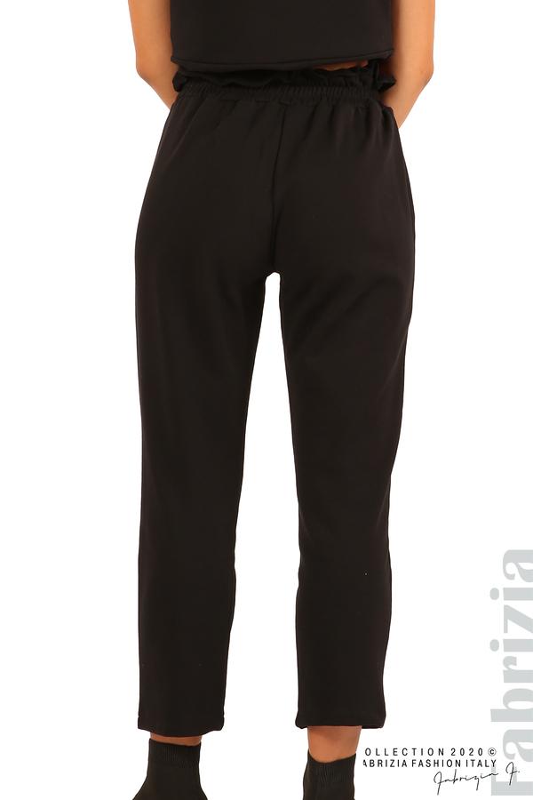 Трикотажен панталон с висока талия-черен-6