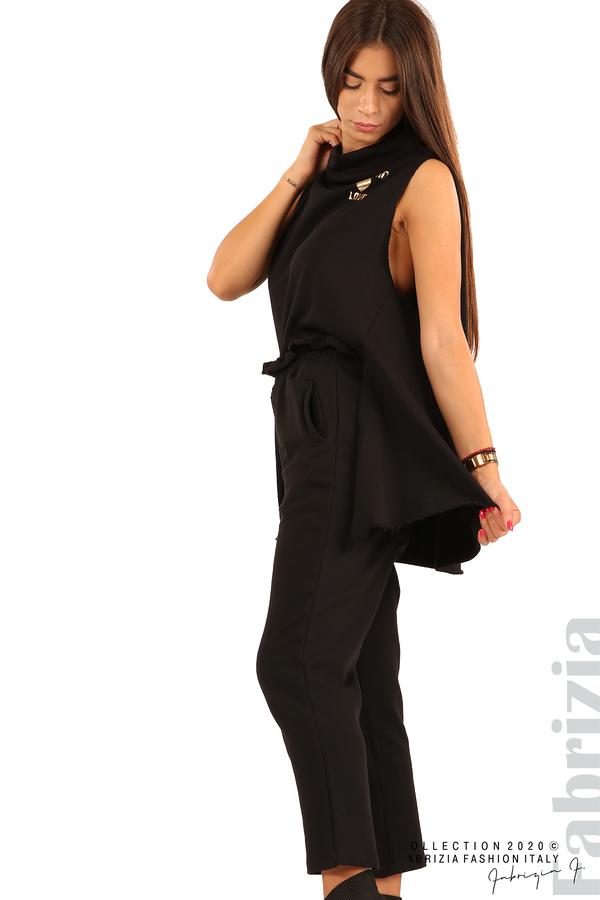 Трикотажен панталон с висока талия-черен-1