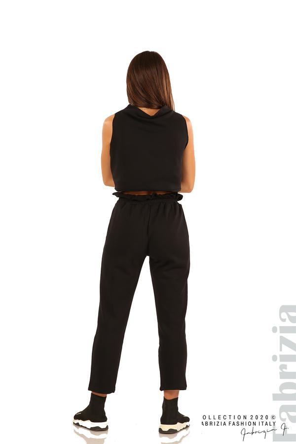 Трикотажен панталон с висока талия-черен-5