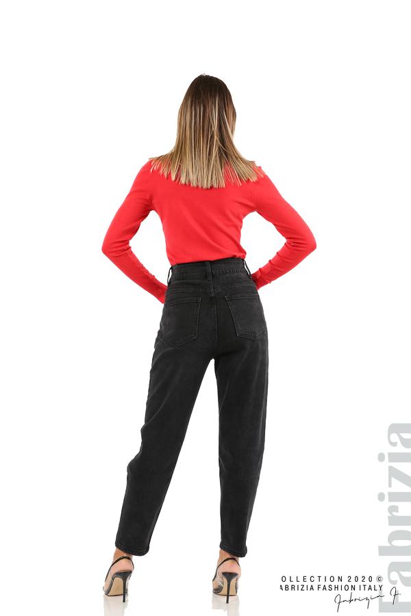 Тъмни дънки с висока талия-черен-5