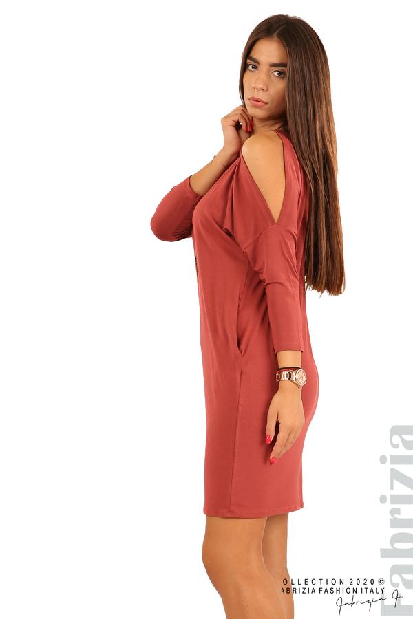 Трикотажна рокля с джобове и аксесоар-бл.червен-3