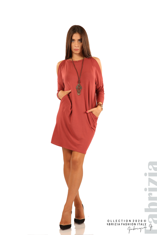 Трикотажна рокля с джобове и аксесоар-бл.червен-1