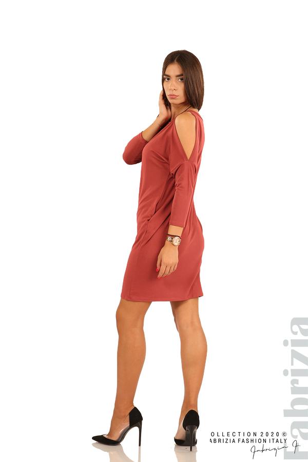 Трикотажна рокля с джобове и аксесоар-бл.червен-5