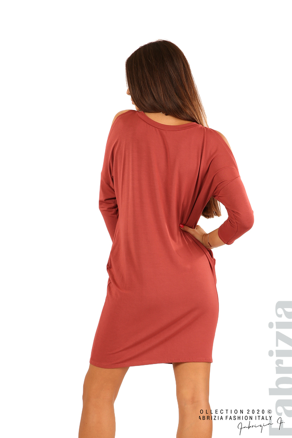 Трикотажна рокля с джобове и аксесоар-бл.червен-6