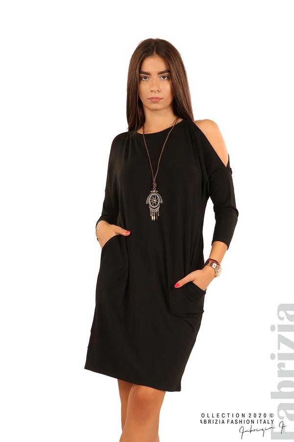 Трикотажна рокля с джобове и аксесоар-черен-1