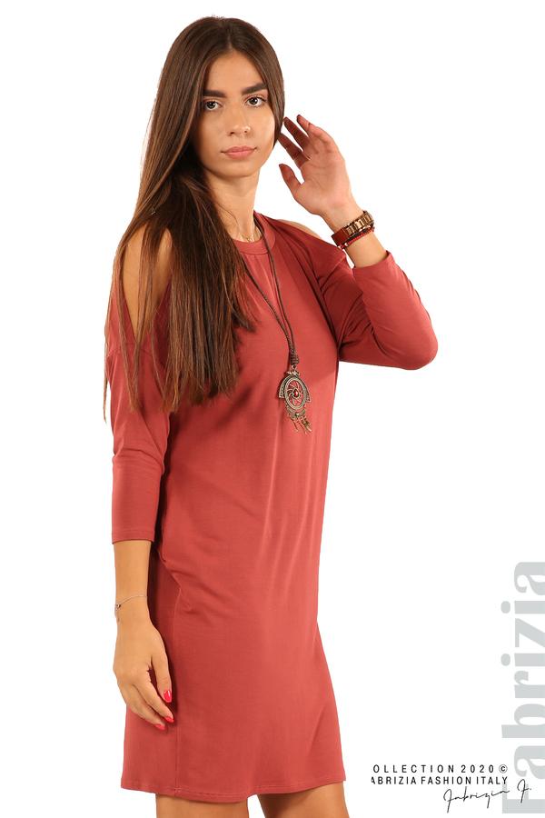 Трикотажна рокля с джобове и аксесоар-бл.червен-4