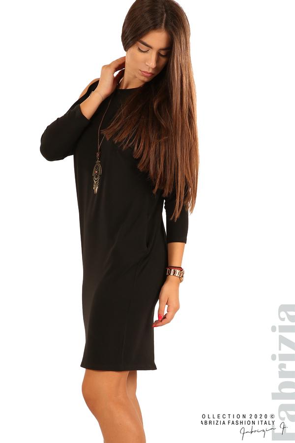 Трикотажна рокля с джобове и аксесоар-черен-4