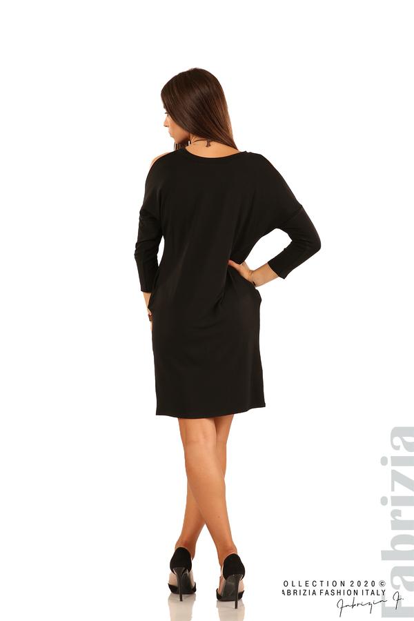 Трикотажна рокля с джобове и аксесоар-черен-6