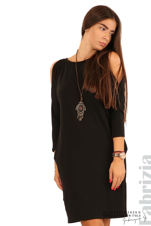 Трикотажна рокля с джобове и аксесоар-черен-2