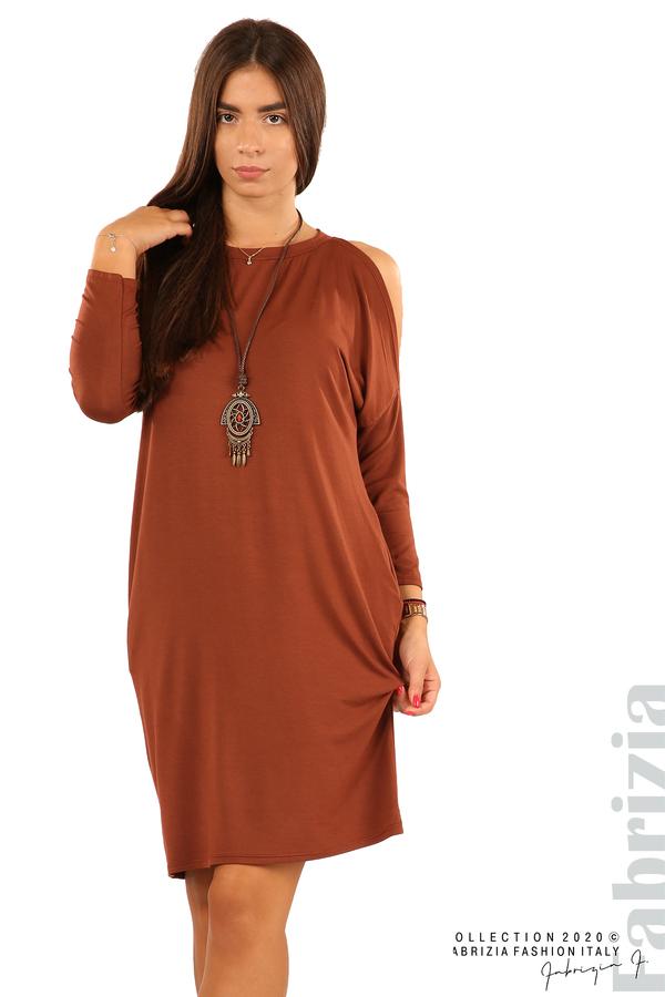 Трикотажна рокля с джобове и аксесоар-кафяв-3