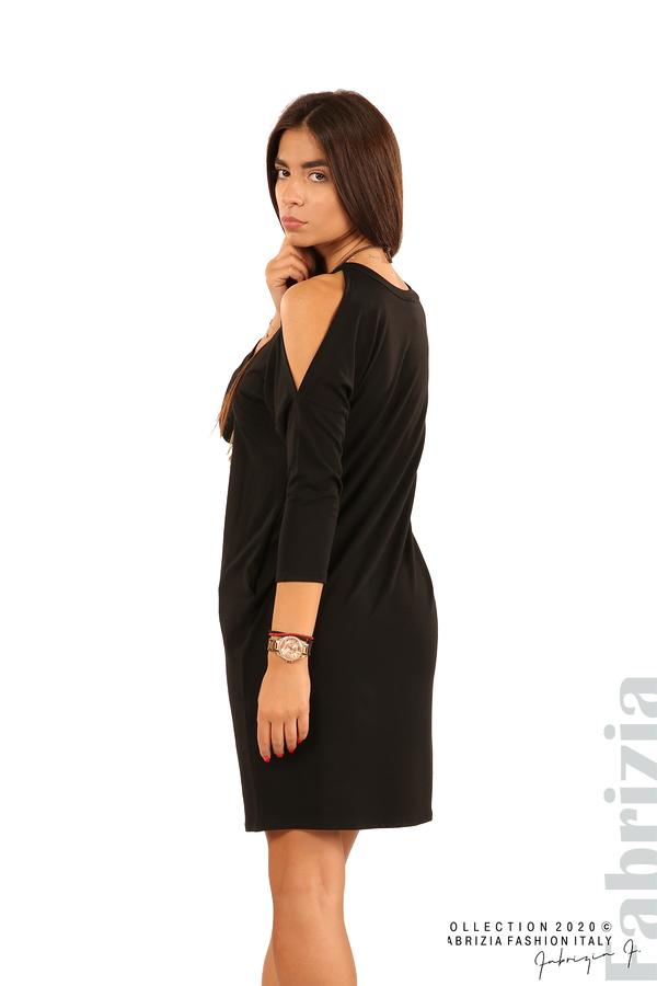 Трикотажна рокля с джобове и аксесоар-черен-5