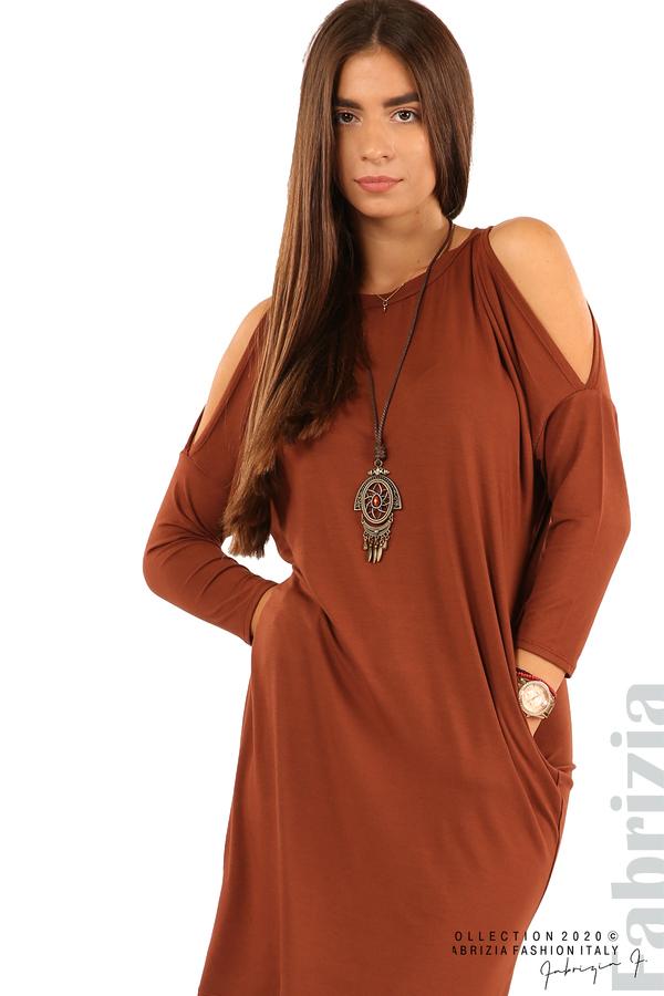 Трикотажна рокля с джобове и аксесоар-кафяв-2