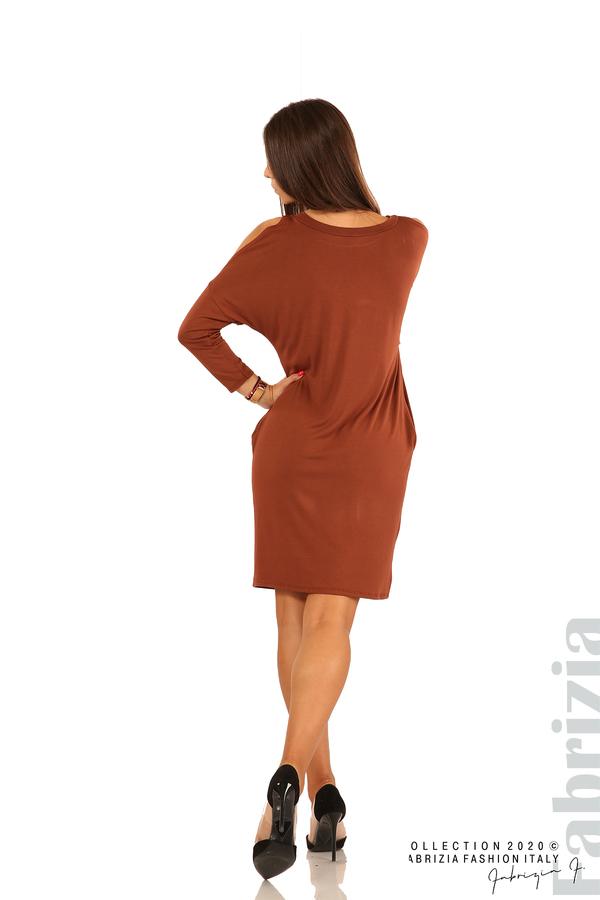 Трикотажна рокля с джобове и аксесоар-кафяв-6