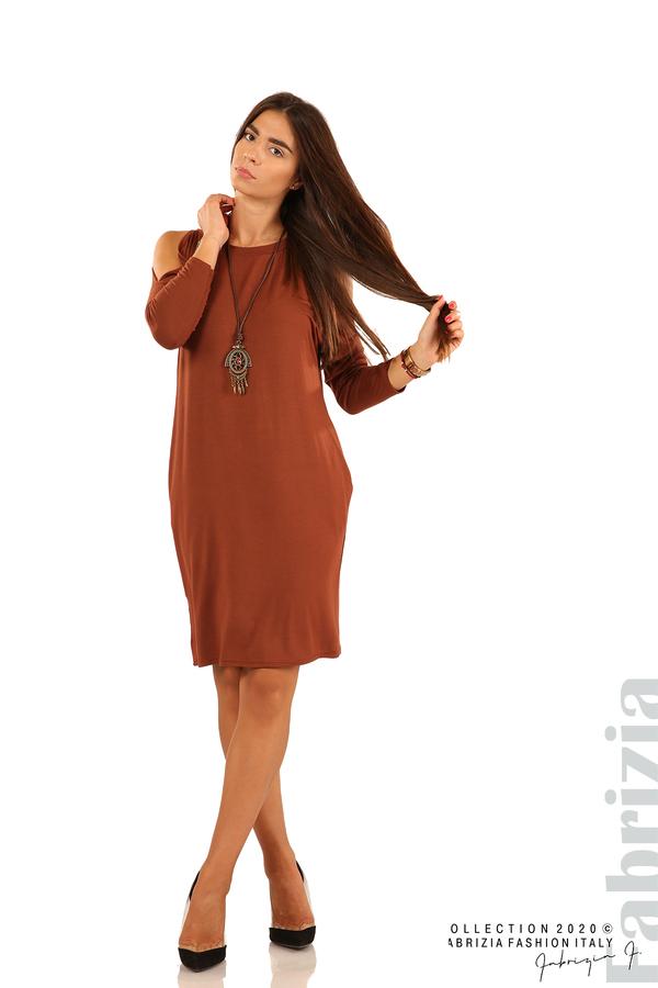 Трикотажна рокля с джобове и аксесоар-кафяв-1