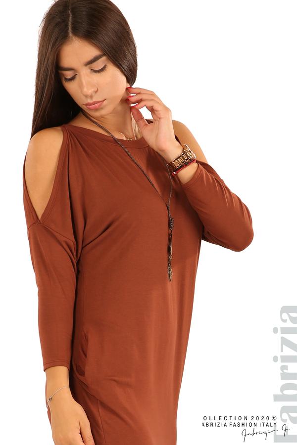 Трикотажна рокля с джобове и аксесоар-кафяв-5
