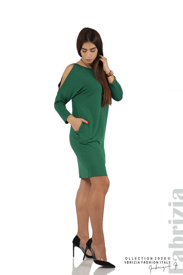 Трикотажна рокля с джобове и аксесоар-т.зелен-3